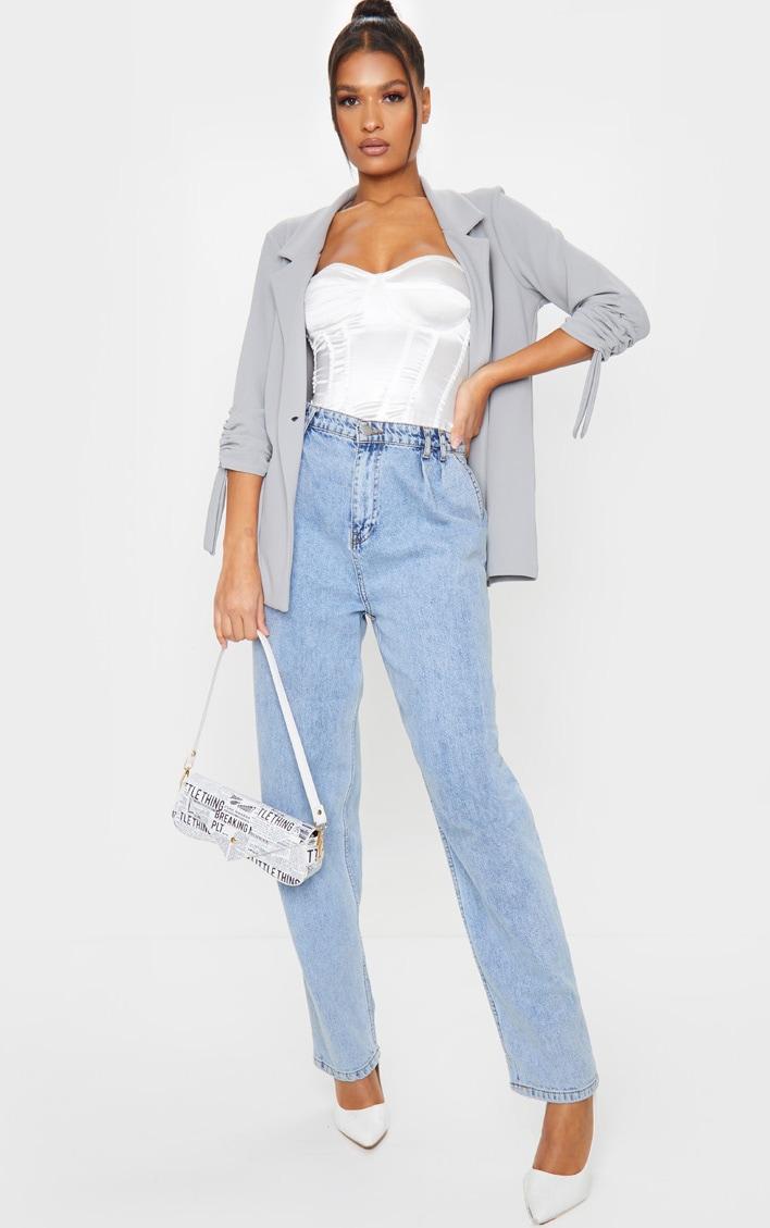 Grey Ruched Sleeve Blazer 3