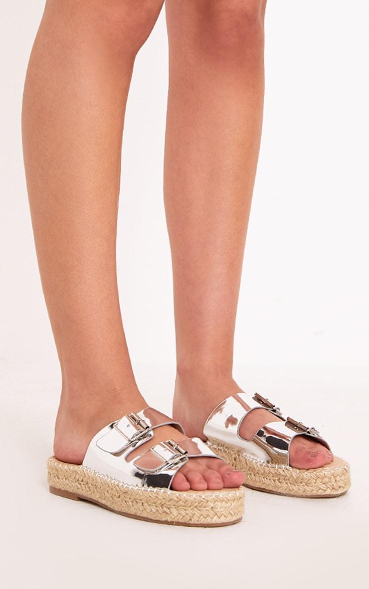 Madge Silver Metallic Espadrille Sandals  3