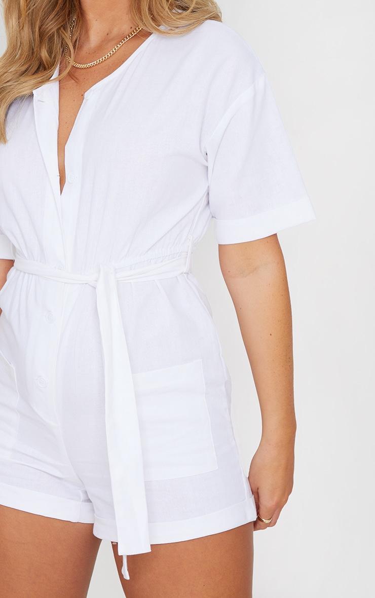 White Linen Look Short Sleeve V Neck Shirt Romper 4