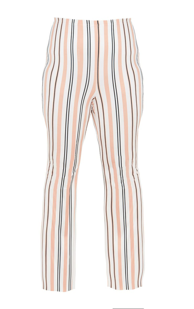Plus White Slinky Striped Flared Trousers 3