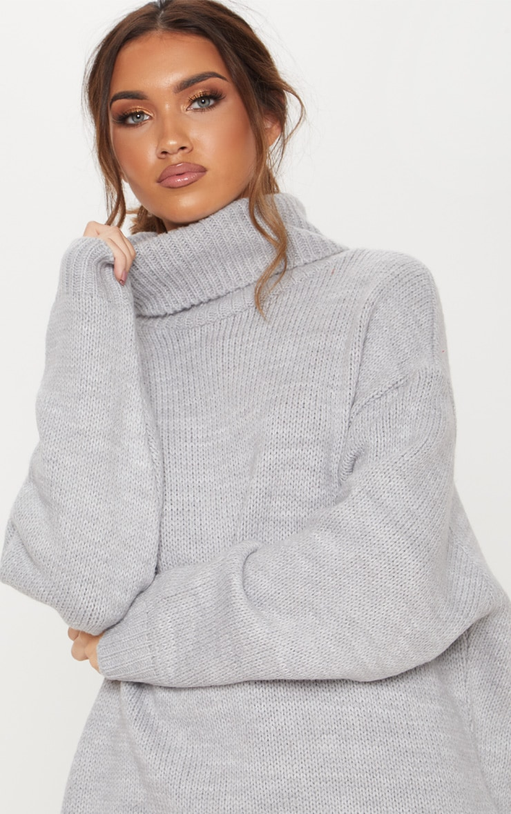 Grey High Neck Fluffy Knit Sweater  5