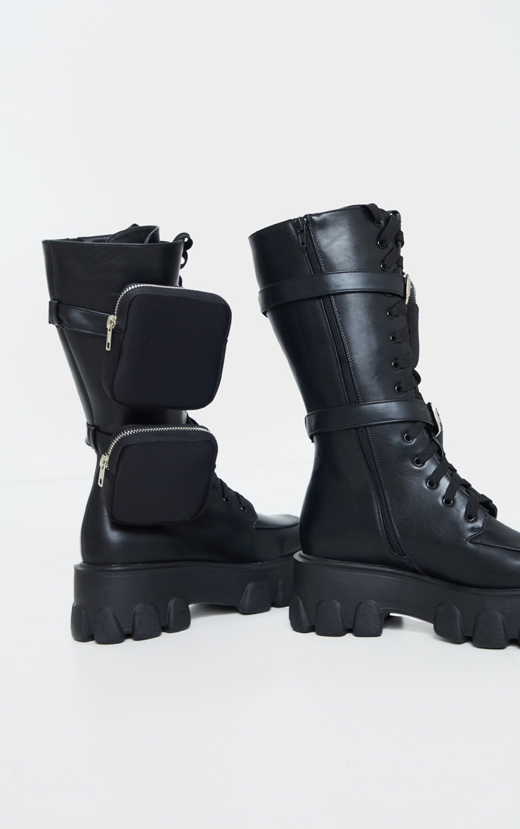 Black Double Pocket Trim Lace Up Extreme Cleated Sole Biker Boot 5