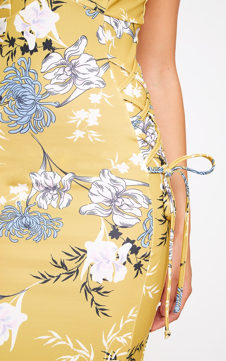 Yellow Floral Lace Up Detail Plunge Midi Dress 5