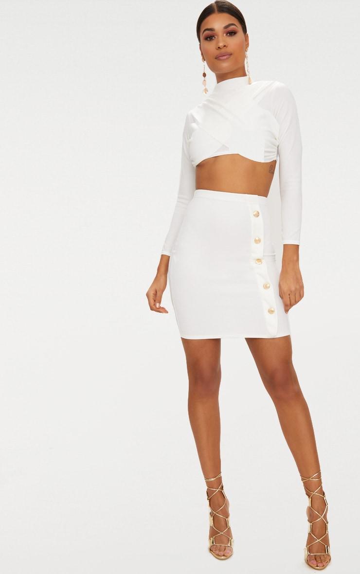 White High Waisted Gold Button Mini Skirt  5