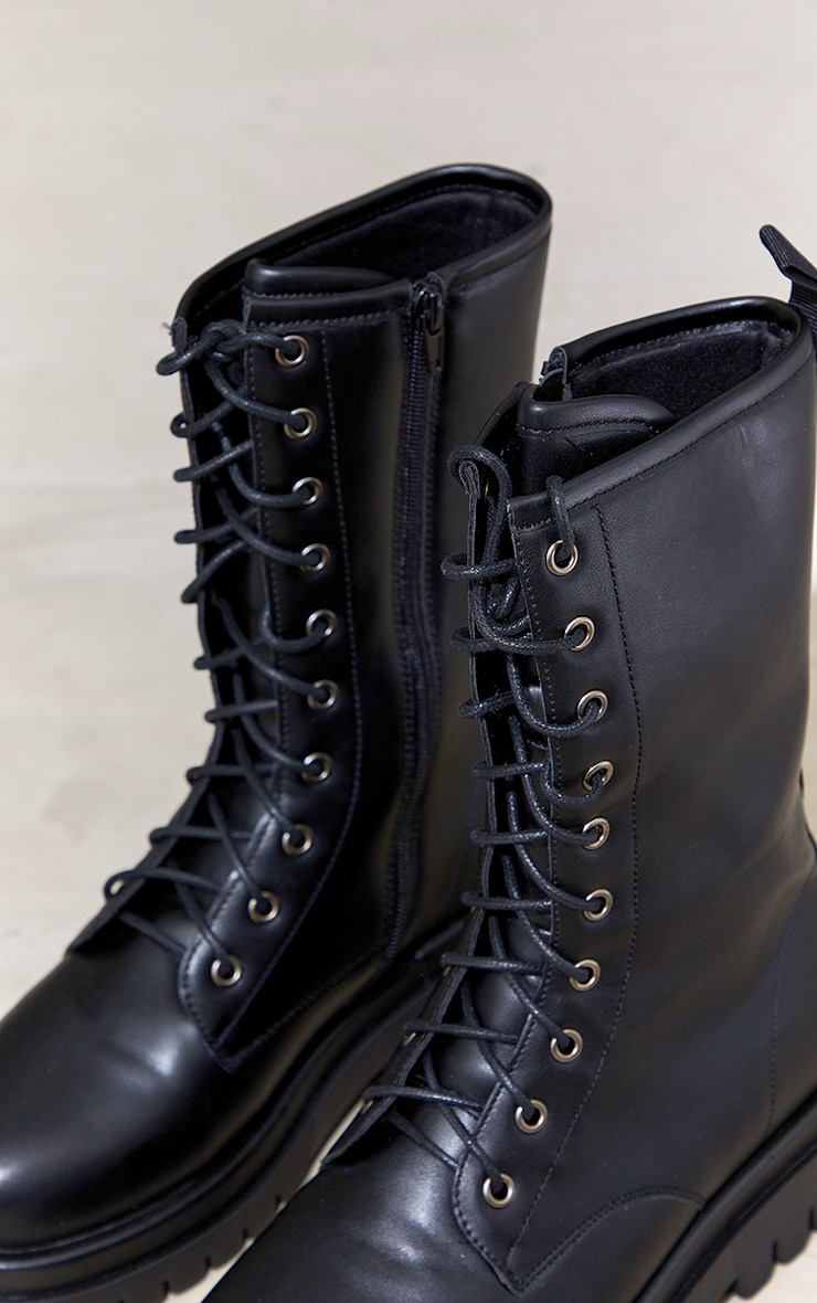 Black PU Lace Up Calf Chunky Boots 3
