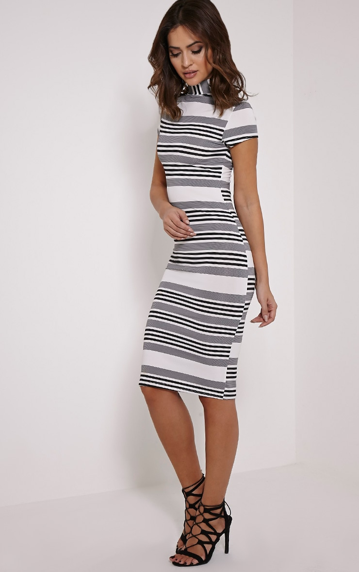 Kamala Black Monochrome Stripe Midi Dress 4