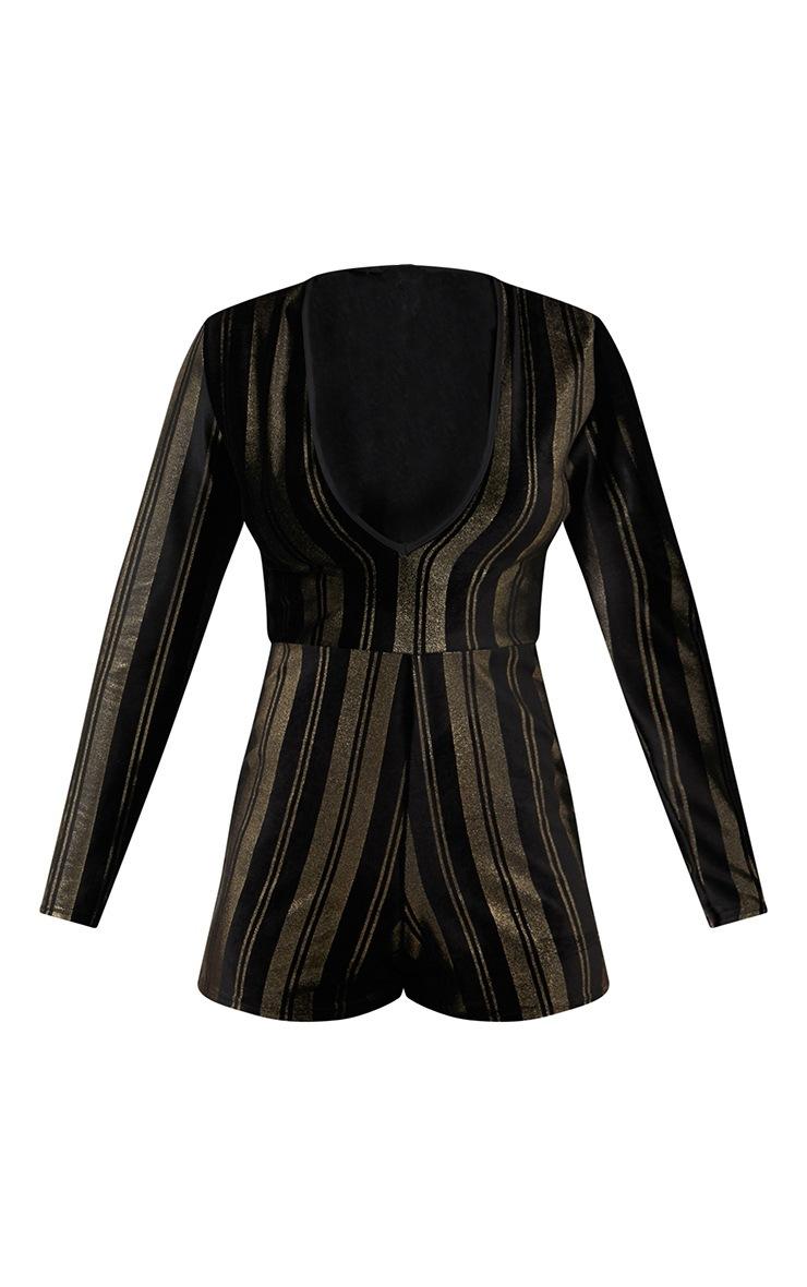 Black Velvet Gold Stripe Plunge Playsuit 3