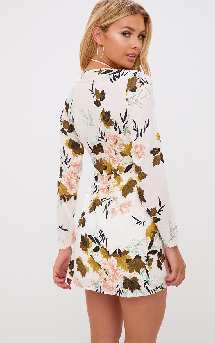 White Printed Long Sleeve Wrap Dress 2