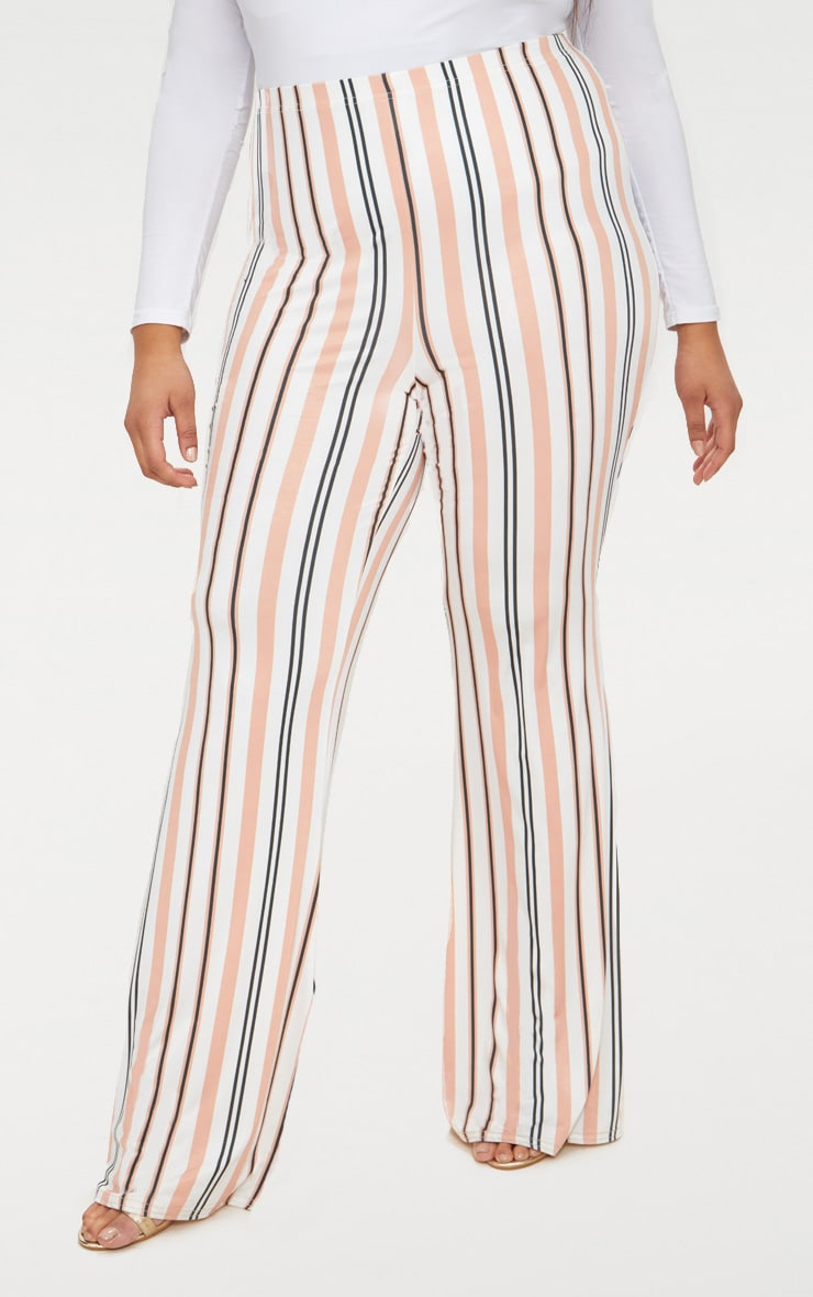 Plus White Slinky Striped Flared Trousers 2