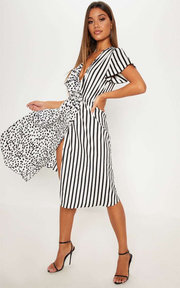 White Mixed Print Wrap Midi Dress 4