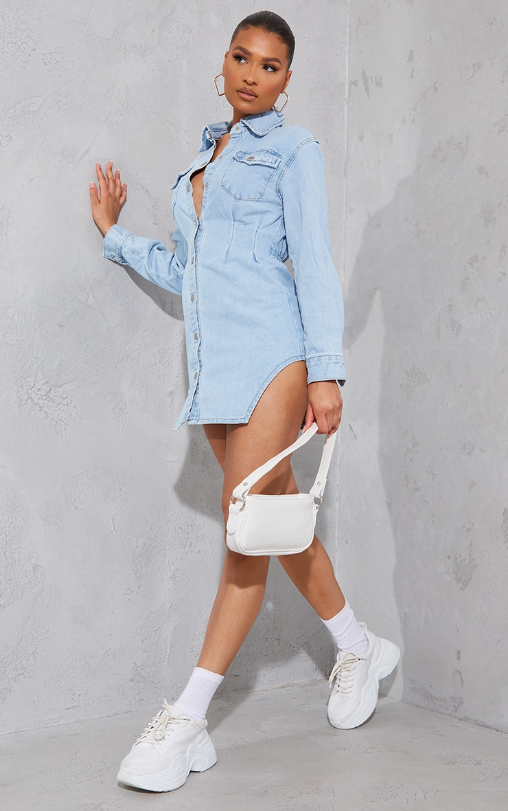 Light Blue Wash Cinched Waist Long Sleeve Denim Dress 3