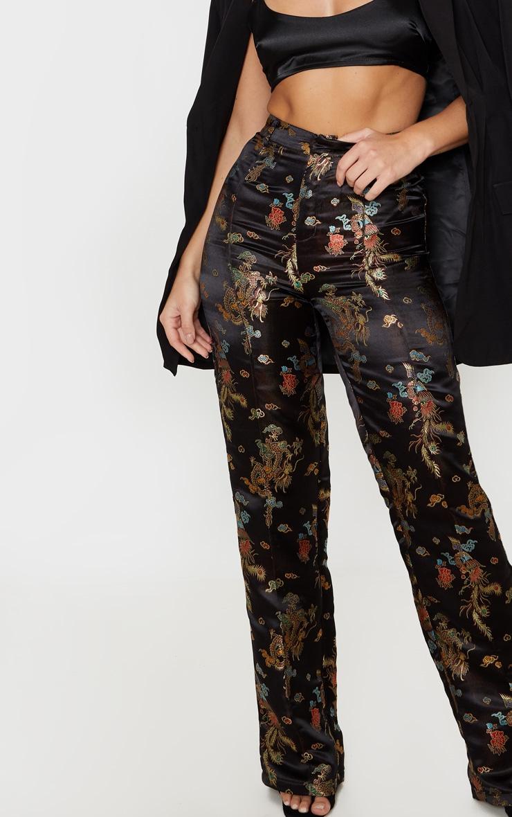 Black Jacquard Embroidered Straight Leg Pants 4