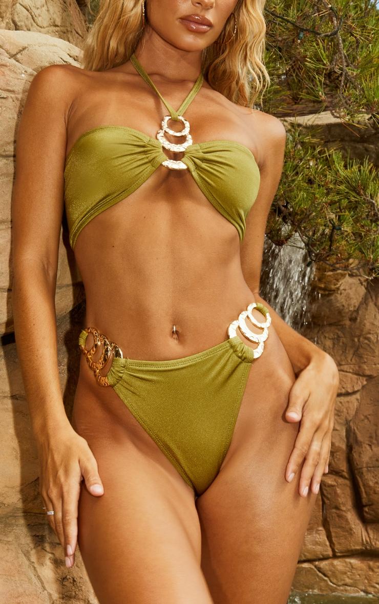 Olive Triple Ring Bikini Bottoms 1