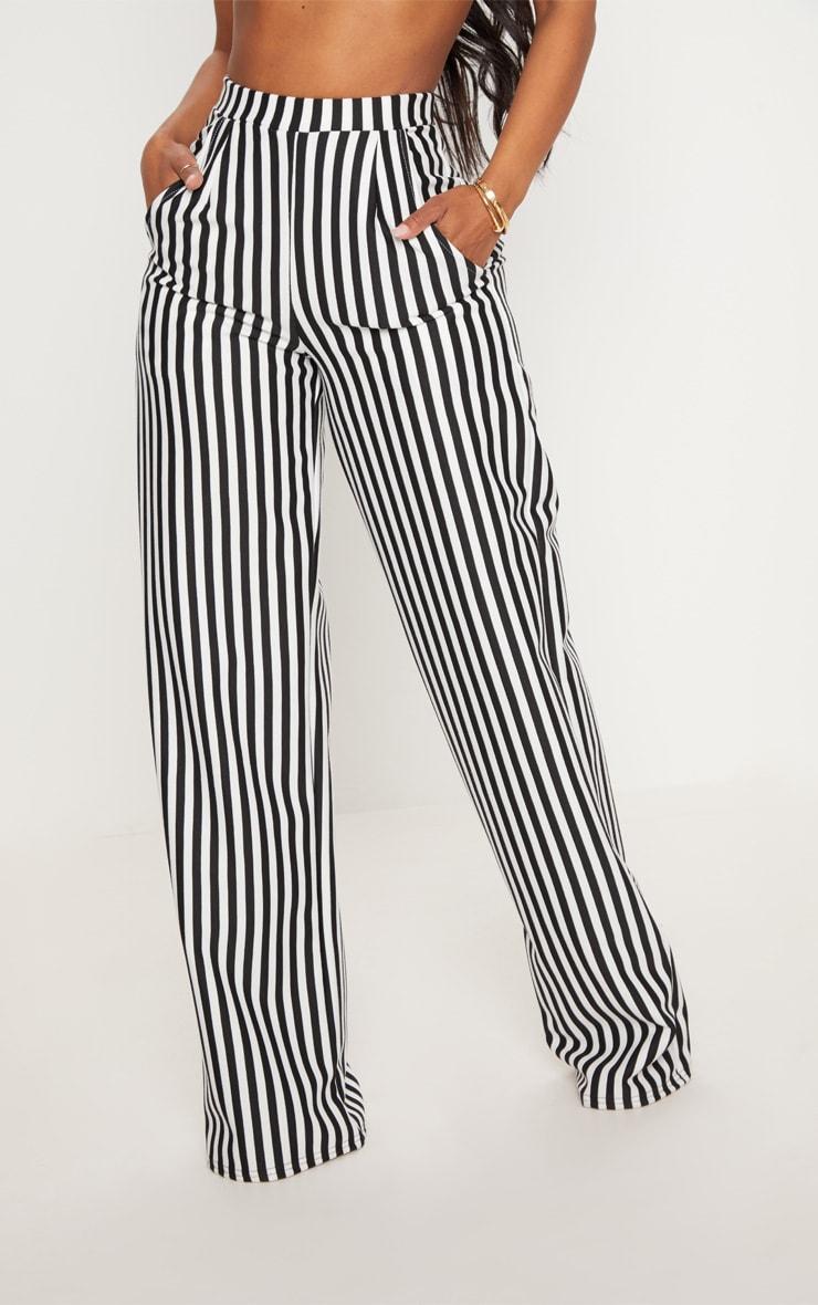 Shape- Pantalon ample rayé noir et blanc 2