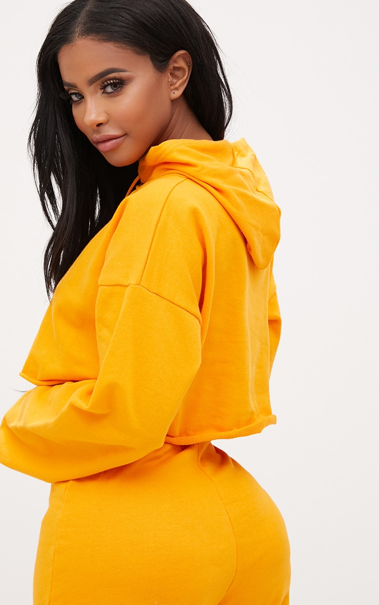 Shape Orange Crop Open Neck Hoodie 3