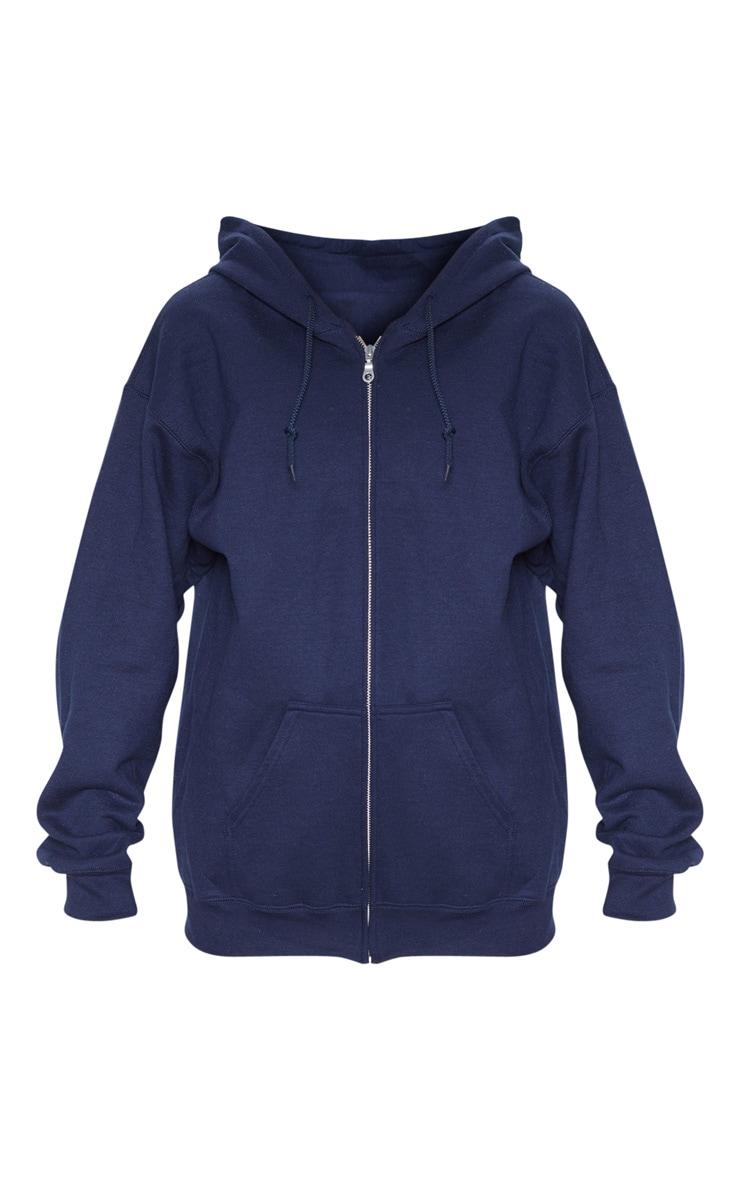 Hoodie bleu marine à zip et doublure polaire 3
