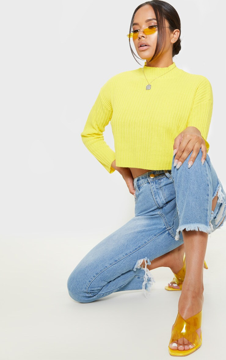 Yellow Cropped Ribbed Knitted Jumper  1
