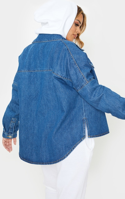 Petite Mid Wash Oversized Denim Shirt