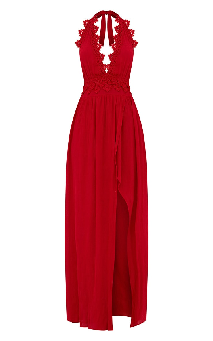 Red Cheesecloth Crochet Trim Maxi Dress 3