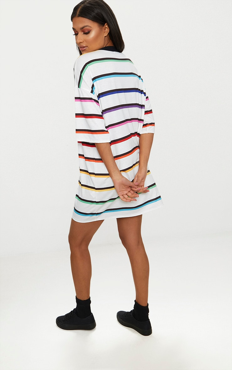 White Rainbow Stripe T Shirt Dress  2
