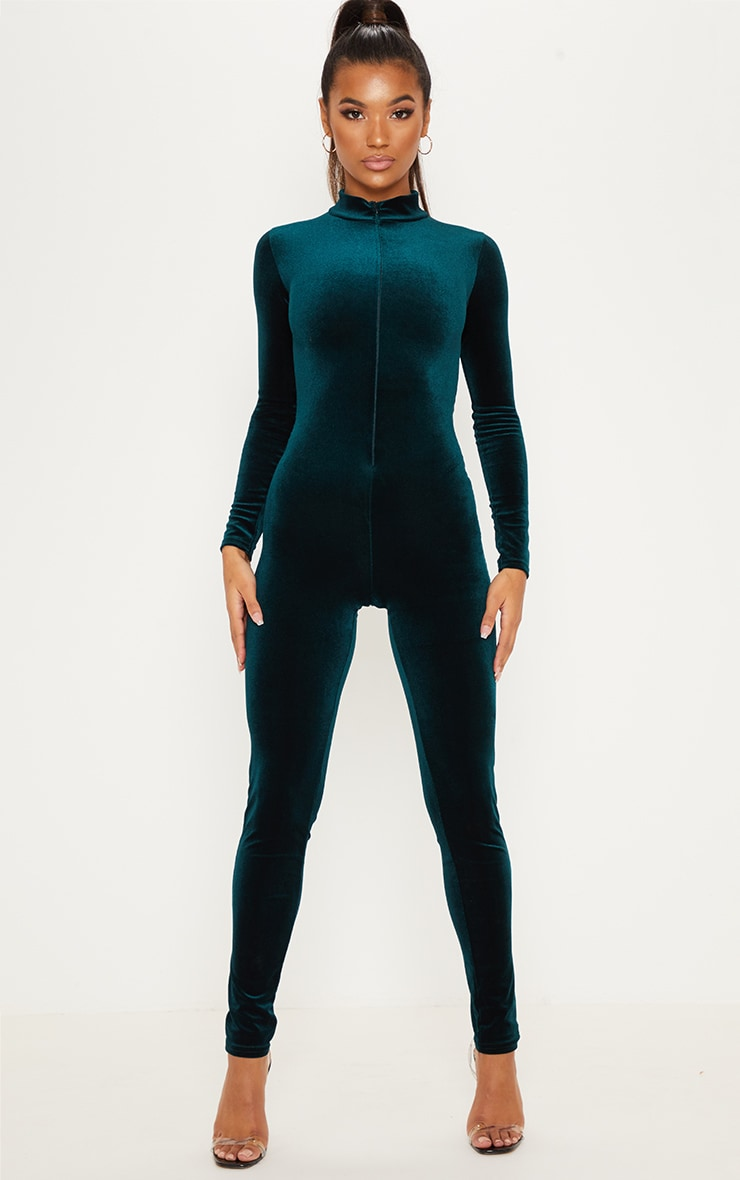 Emerald Green Velvet Zip Front High Neck Jumpsuit 4