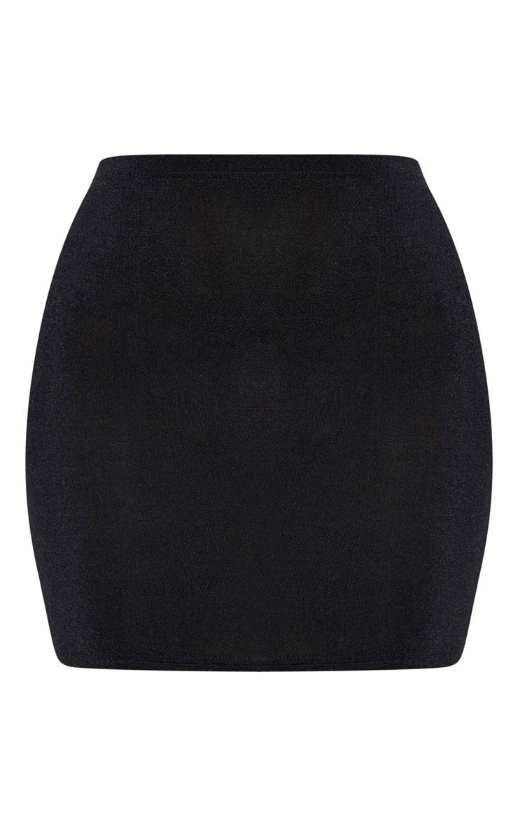 Black Slinky Acetate Ruched Side Mini Skirt 6