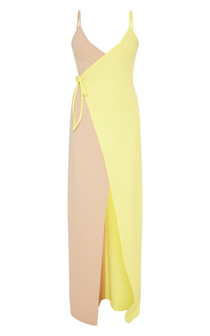 Nude Colour Block Wrap Over Maxi Dress 3