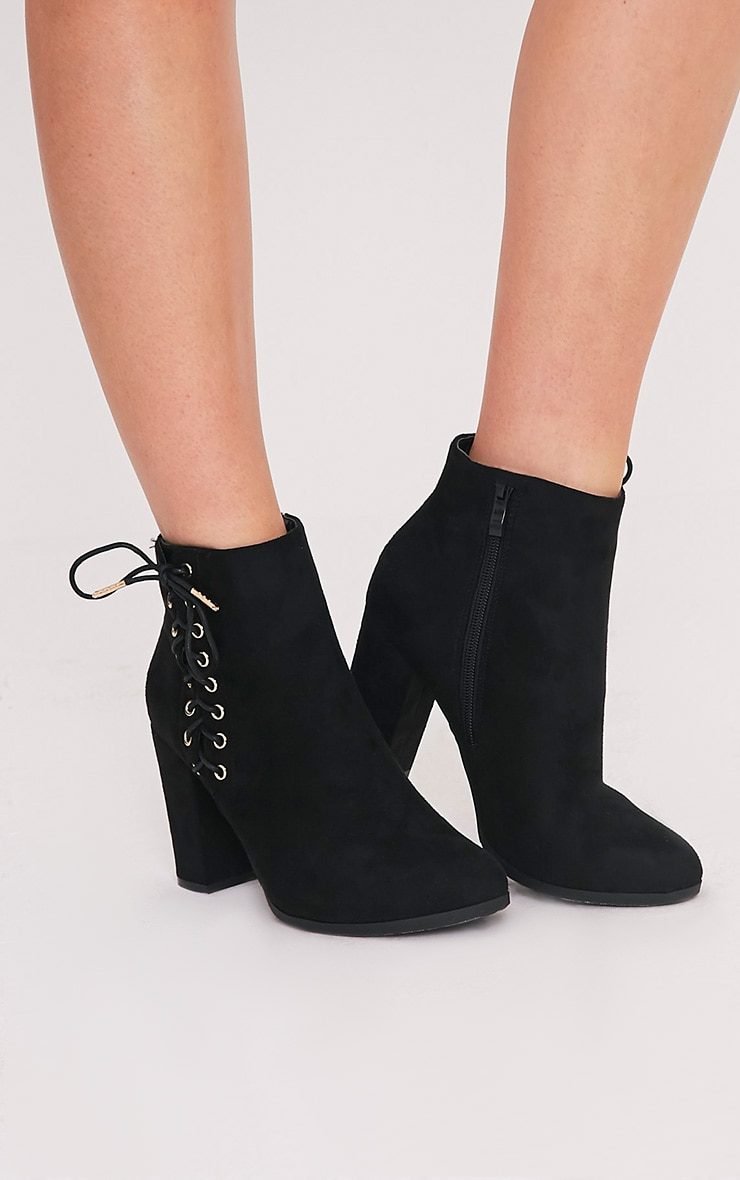 Honor Black Lace Up Side Heeled Ankle Boots 1