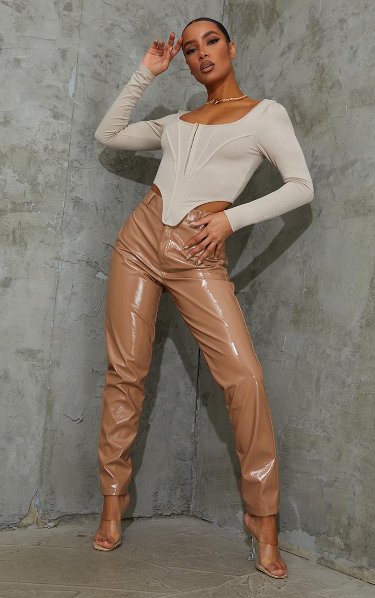 Nude Jersey Long Sleeve Pointed Hem Corset 3