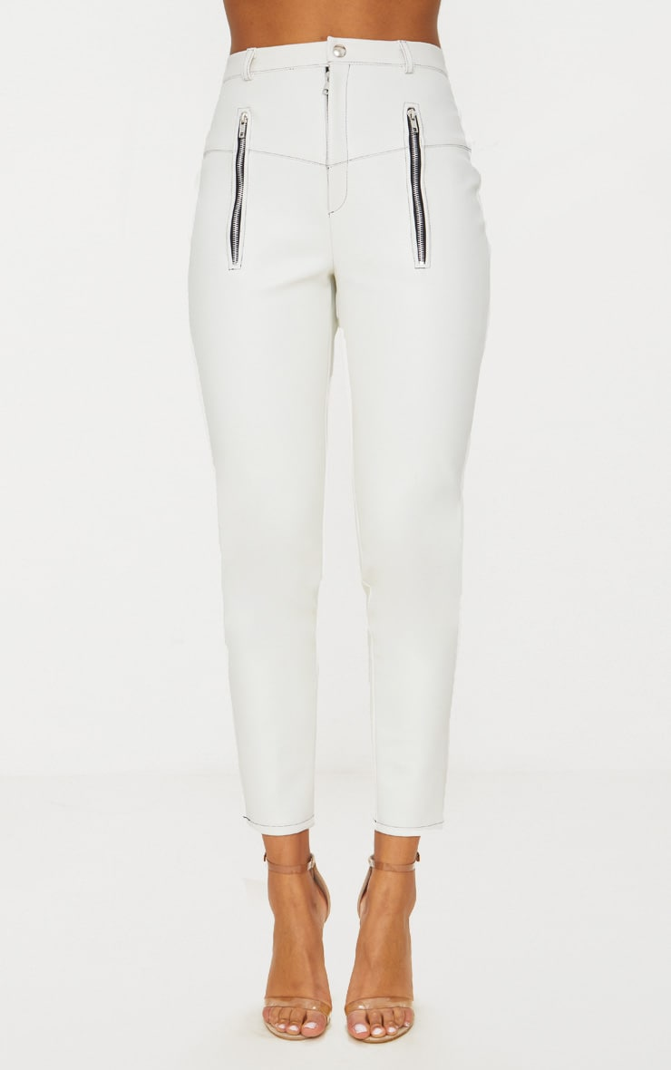 White Faux Leather Contrast Stitch Trouser 6