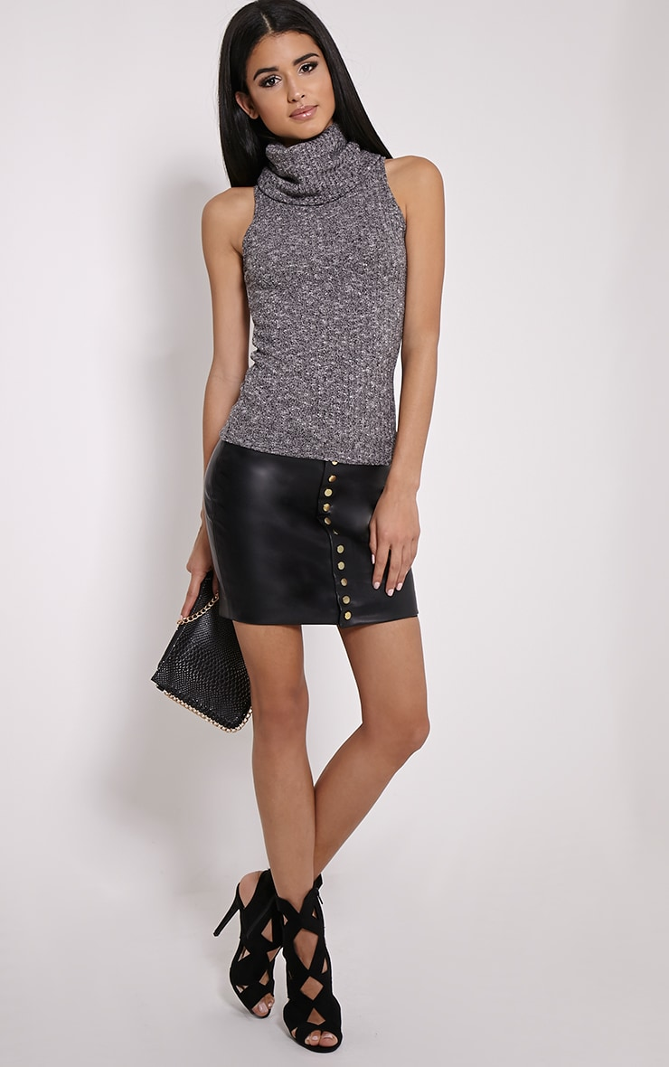Mandie Marl Grey Roll Neck Sleeveless Knitted Top 3