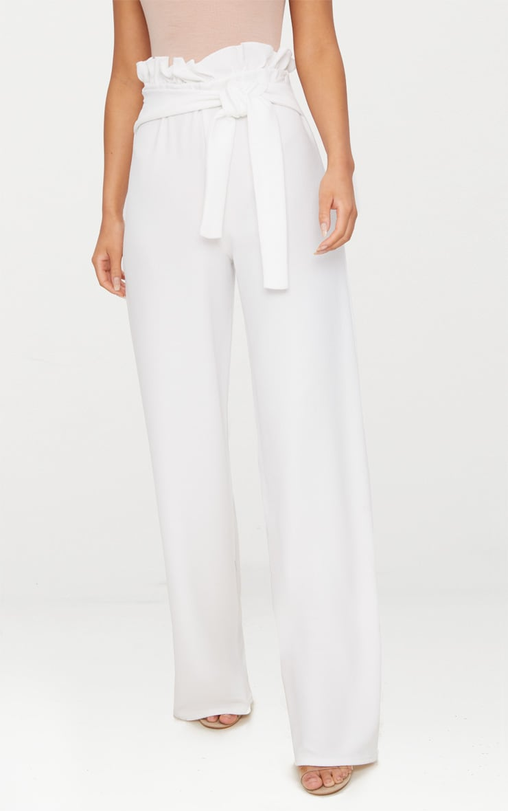 Cream Crepe Wide Leg Paperbag Trousers 2
