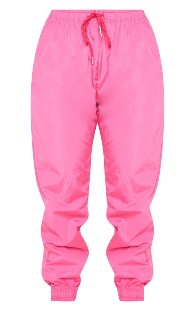 Hot Pink Drawstring Waist Shell Pants 3