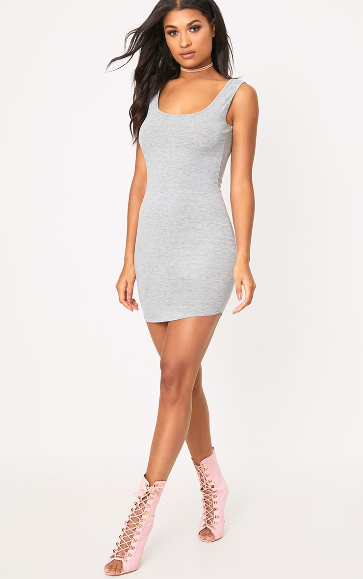 Grey Marl Curve Hem Bodycon Dress 4