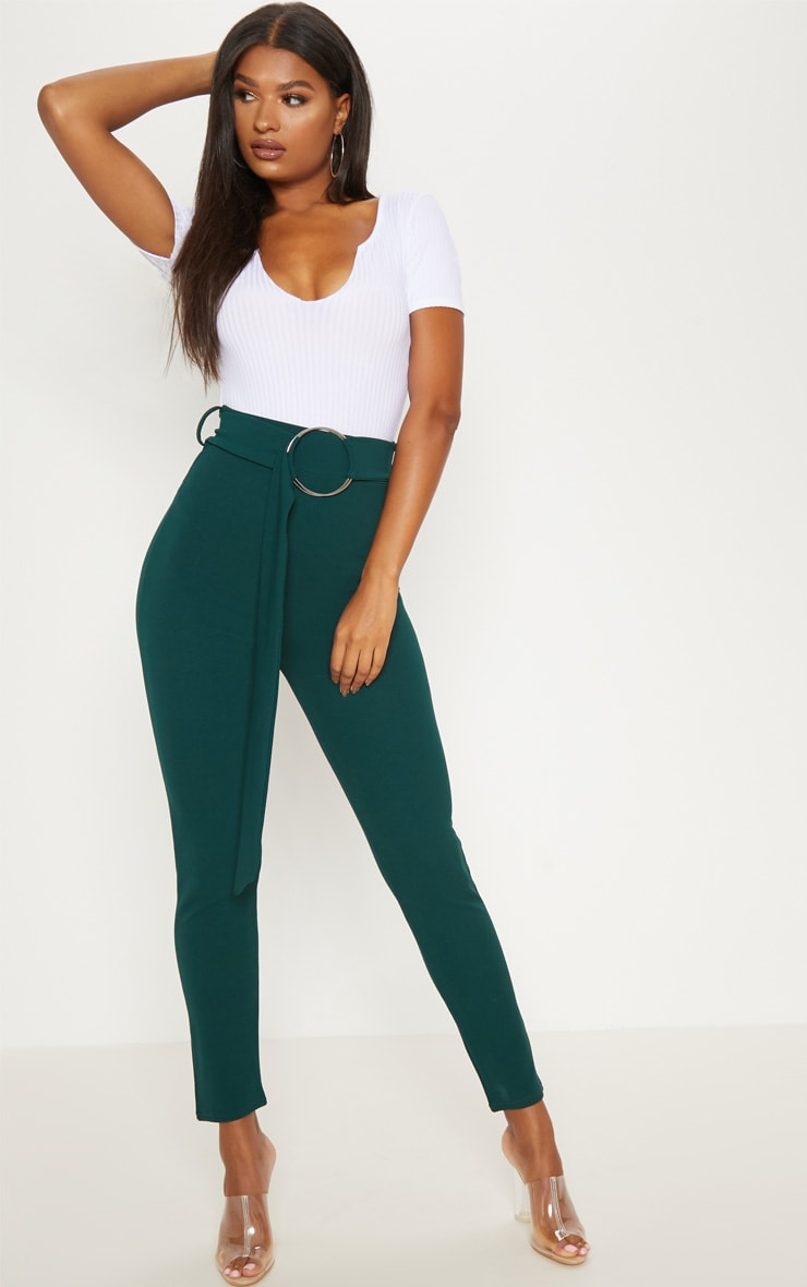 Emerald Green Oversized Ring Belt Skinny Trouser 1