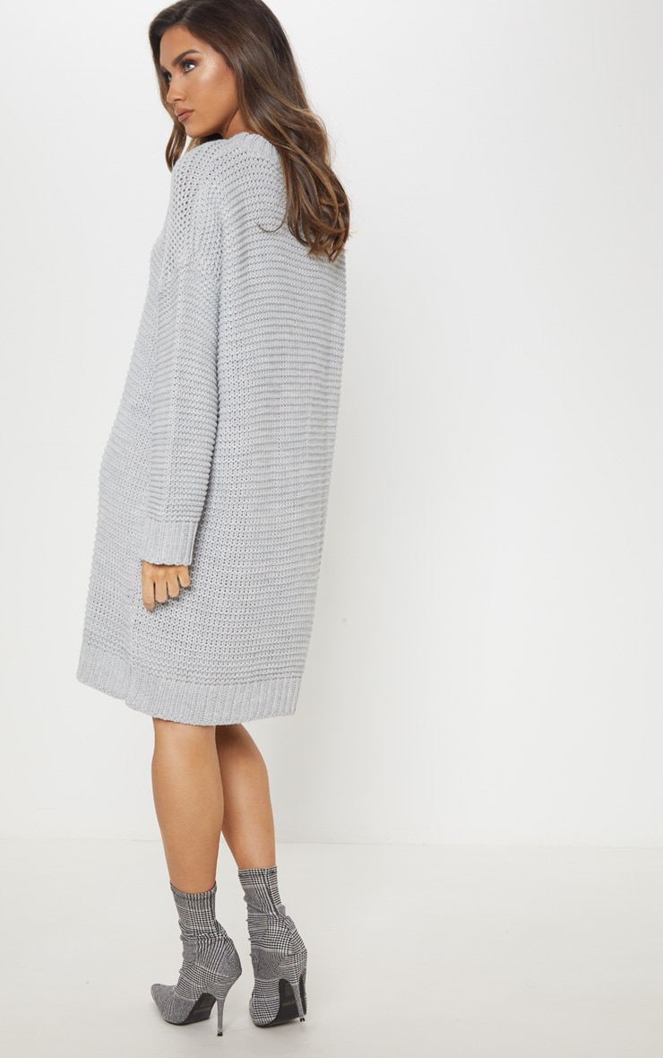 Grey Chunky Knitted Jumper Dress 2