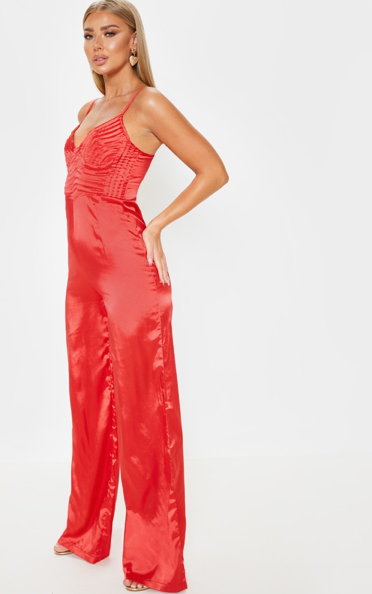 Red Satin Quilted Bust Wide Leg Jumpsuit 5