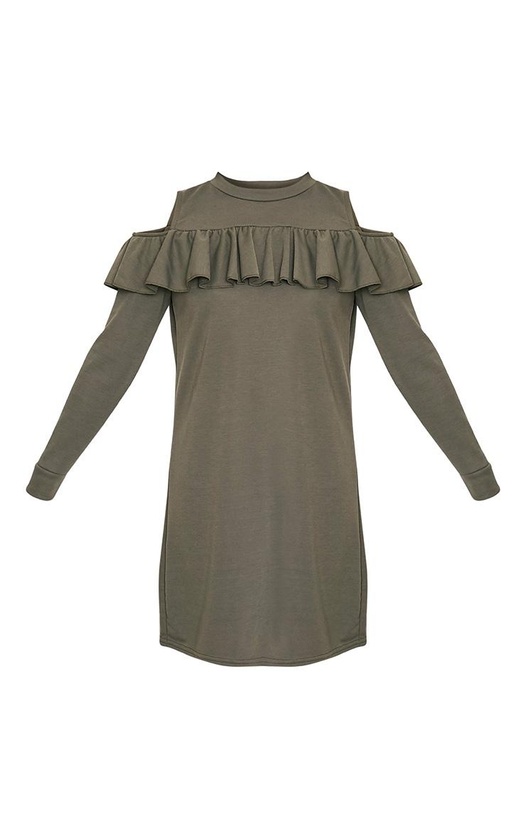 Bridy Khaki Cold Shoulder Sweater Dress 3