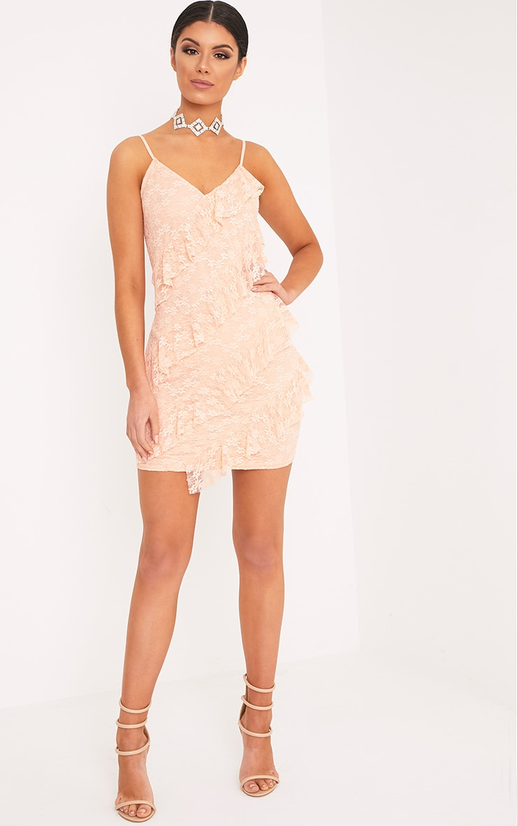 Brittany Blush Strappy Lace Frill Bodycon Dress 4