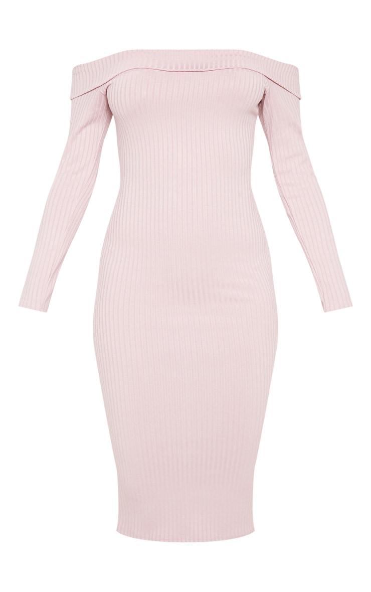 Dusty Lilac Ribbed Folded Bardot Midi Dress 3