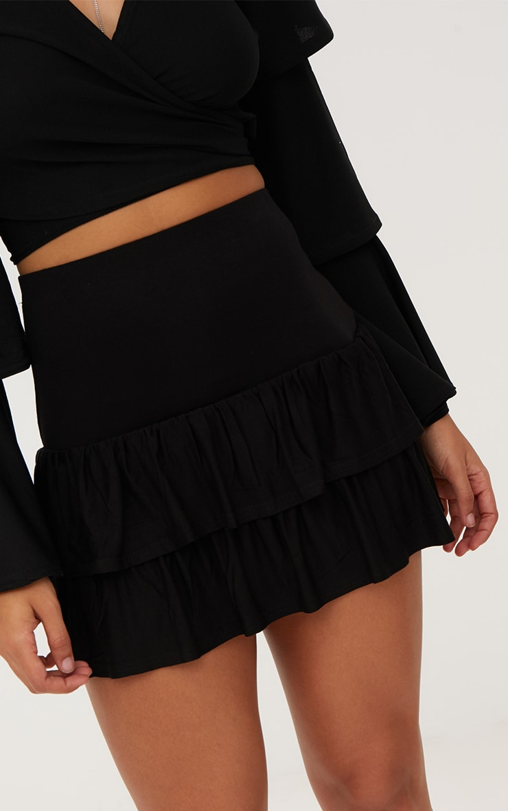 Black Tiered Frill Jersey Mini Skirt 6