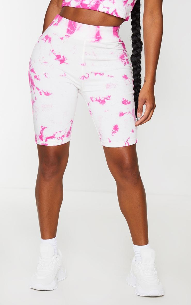 Shape Pink Tie Dye Cotton Bike Shorts 2
