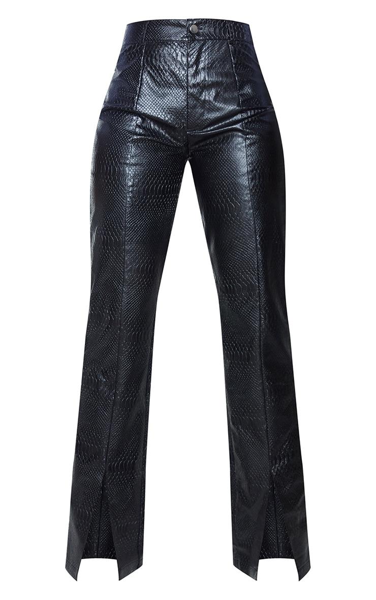 PREMIUM Black Faux Leather Croc Split Hem Skinny Trousers 5