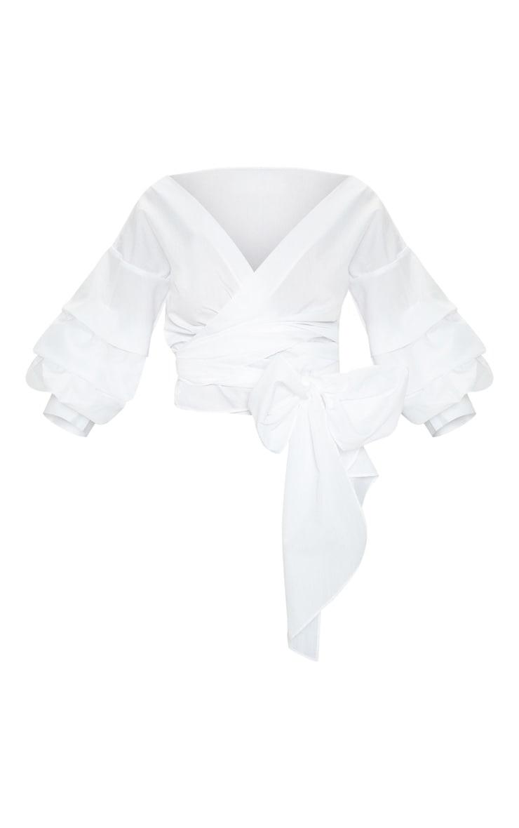 Marlow White Oversized Ruffle Sleeve Low Shoulder Shirt 3