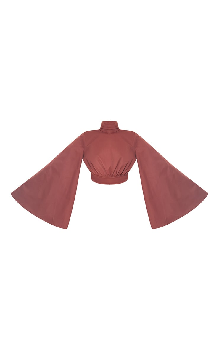 Chocolate Woven High Neck Ruched Crop Blouse 5