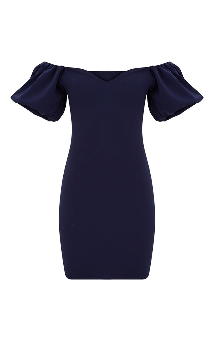 Navy Puff Shoulder Bardot Bodycon Dress 2