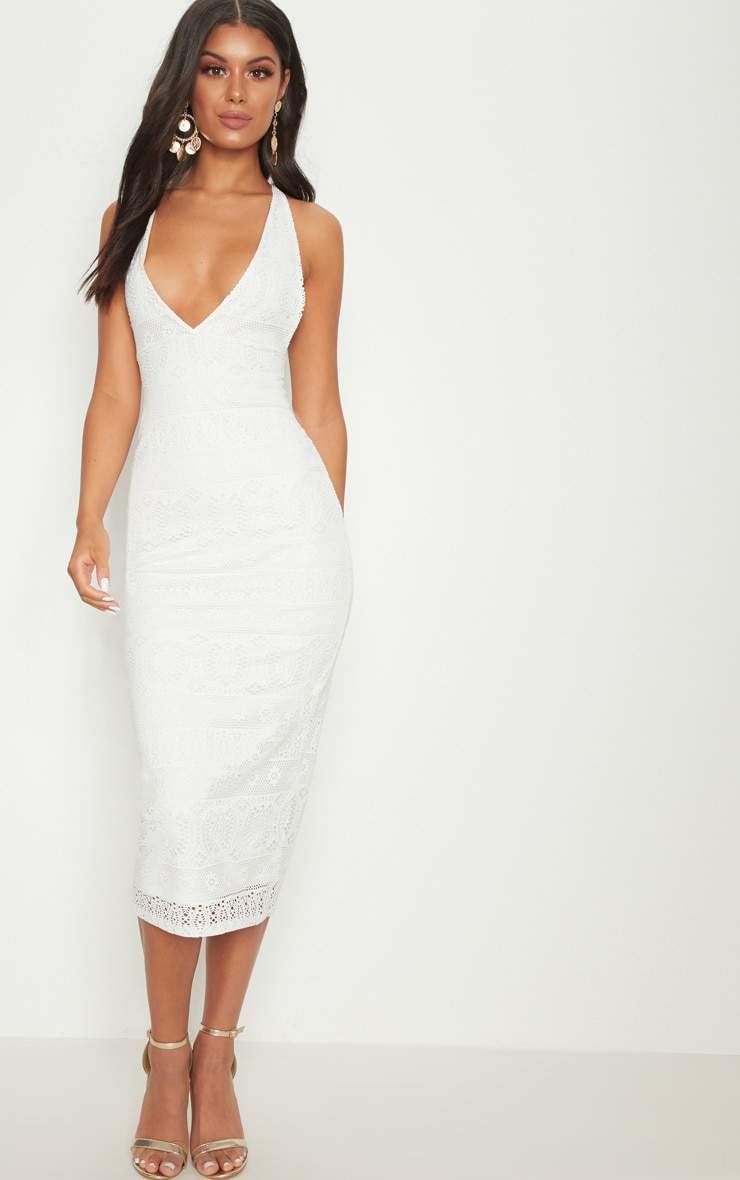 6eda954af780 White Plunge Crochet Midi Dress image 1