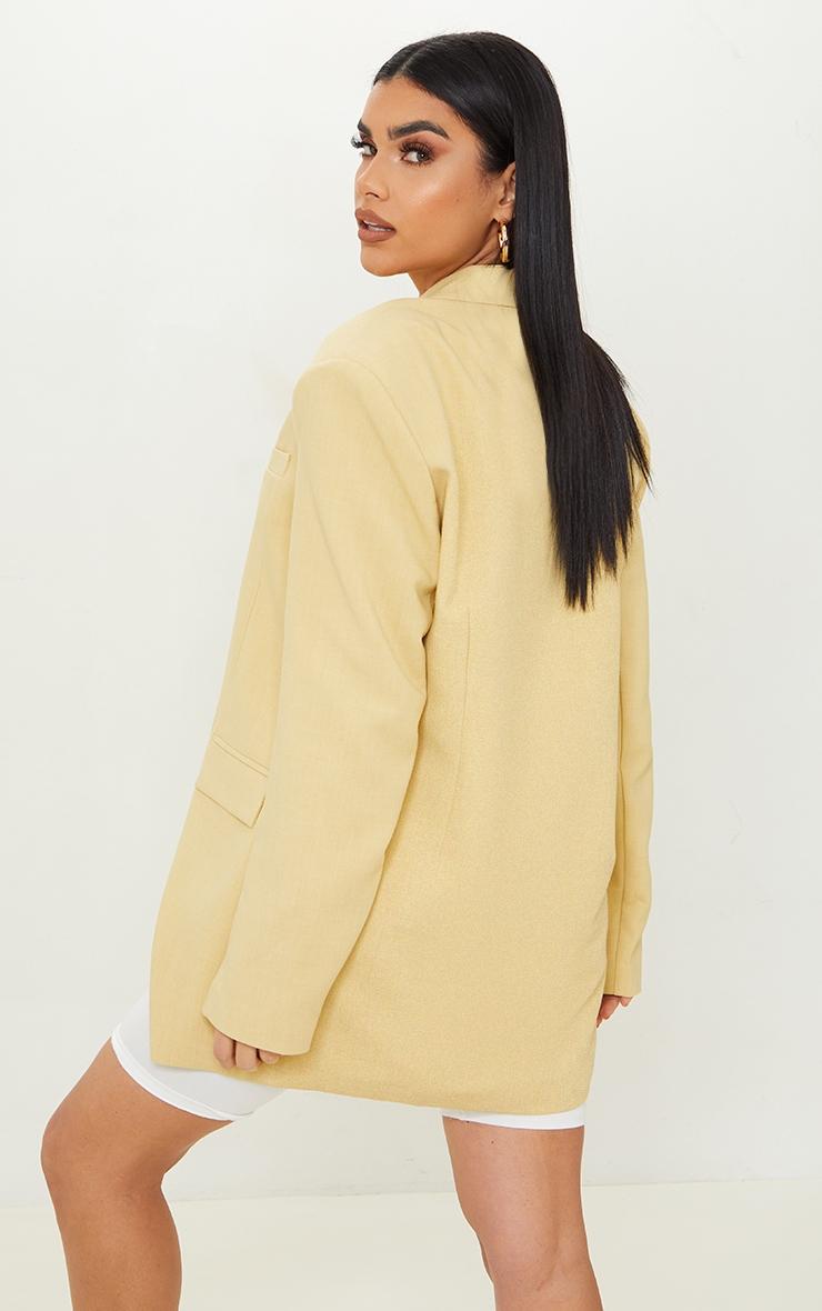 Yellow Premium Woven Shoulder Padded Grandad Blazer 2