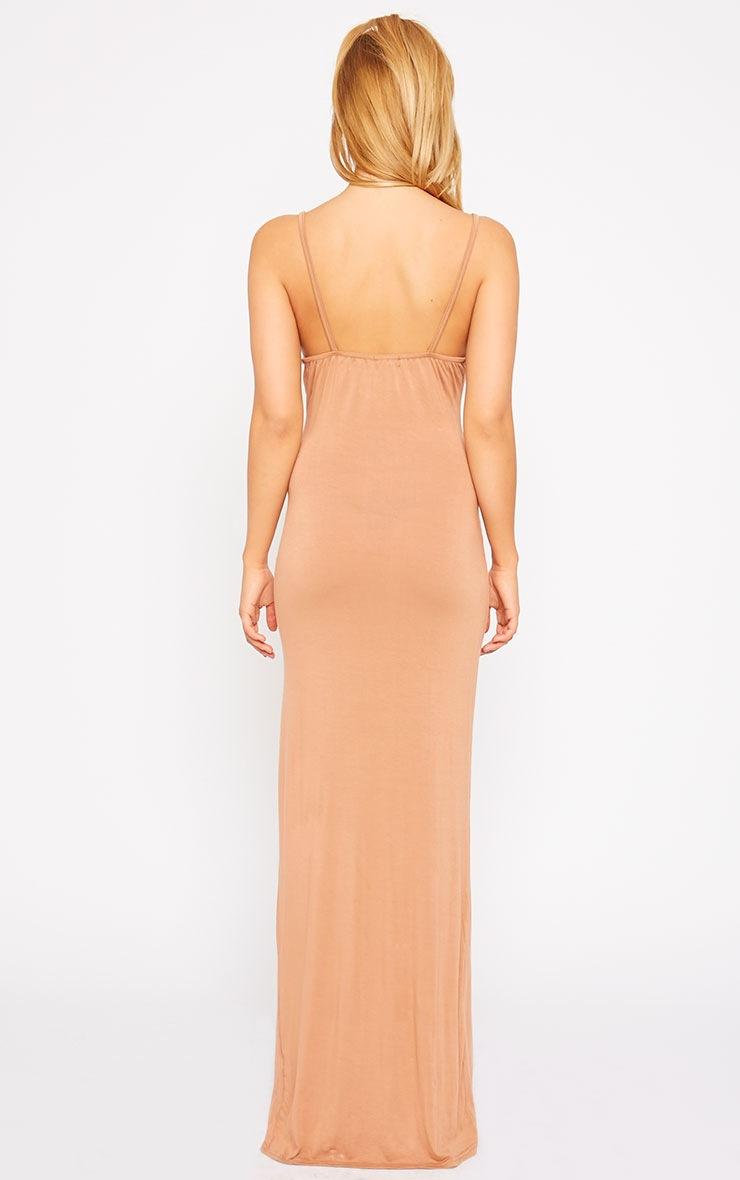Aurelia Camel Front Slit Cami Maxi Dress 2