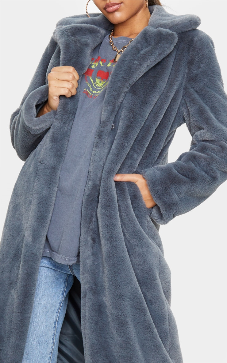 Charcoal Maxi Faux Fur Coat  5